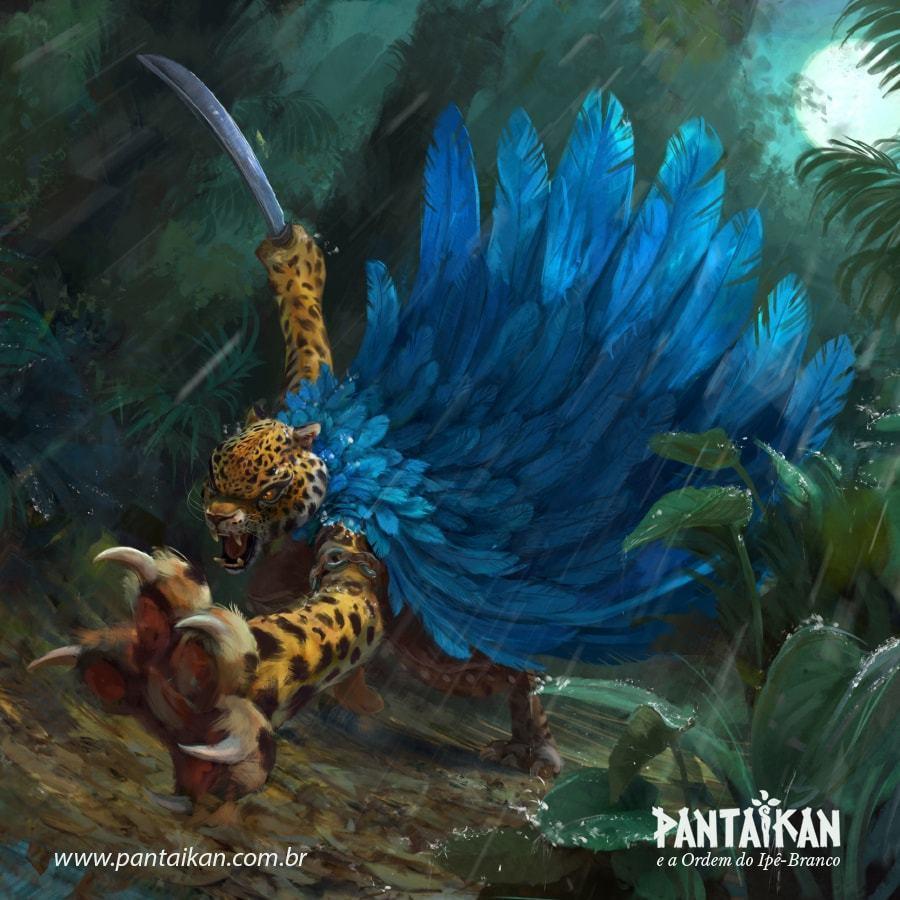 """Personagem Tocaia do livro """"Pantaikan"""" em arte de divulgação."""