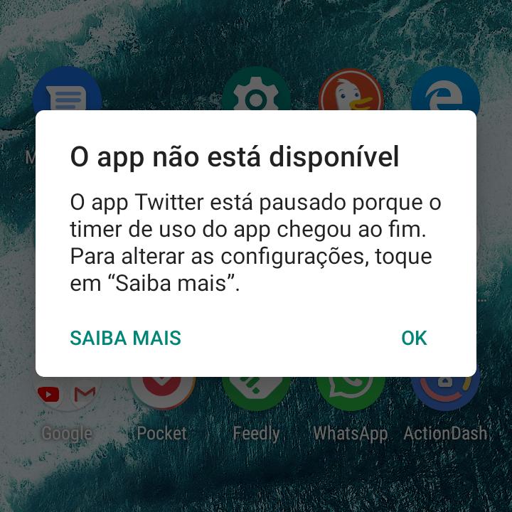 Print da mensagem que aparece ao tentar abrir um aplicativo que bateu no limite de uso do dia definido no Bem-estar digital.