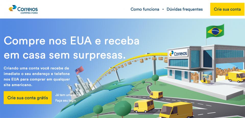 Site do Comprar Fora, serviço dos Correios.