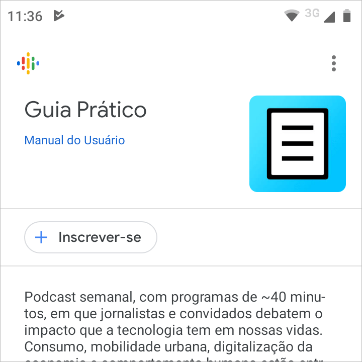 Página do podcast Guia Prático no Google Podcasts..