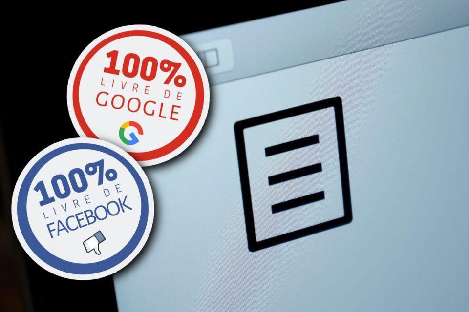 Foto do logo do Manual do Usuário com adesivos de 100% livre de Facebook e Google por cima.