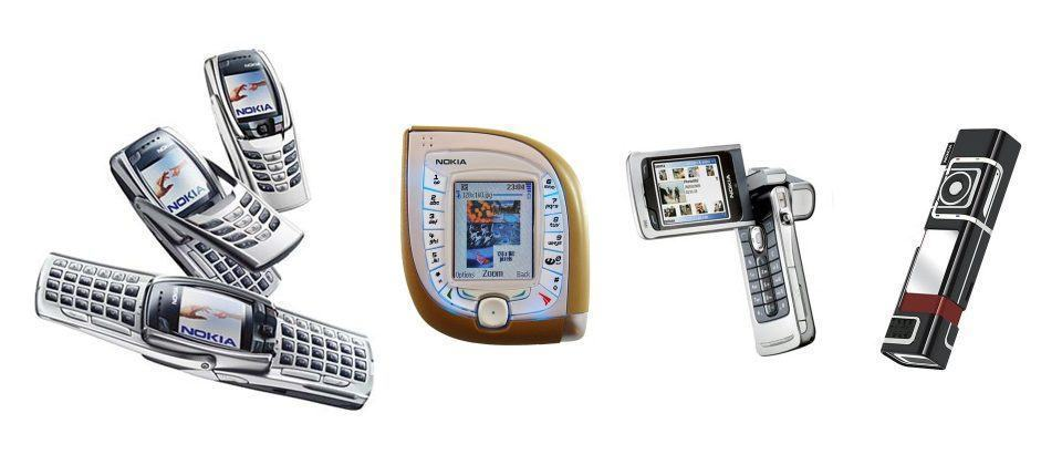 Quatro modelos de celulares diferentes da Nokia, lado a lado.