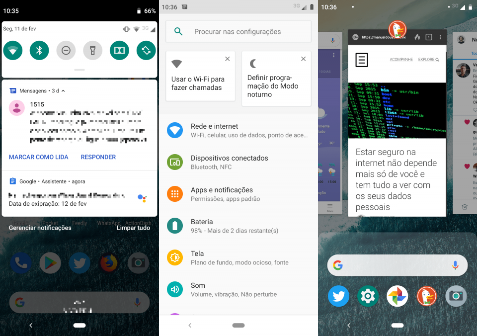 Prints da cortina de notificações, tela de configurações e tela de aplicativos recentes.