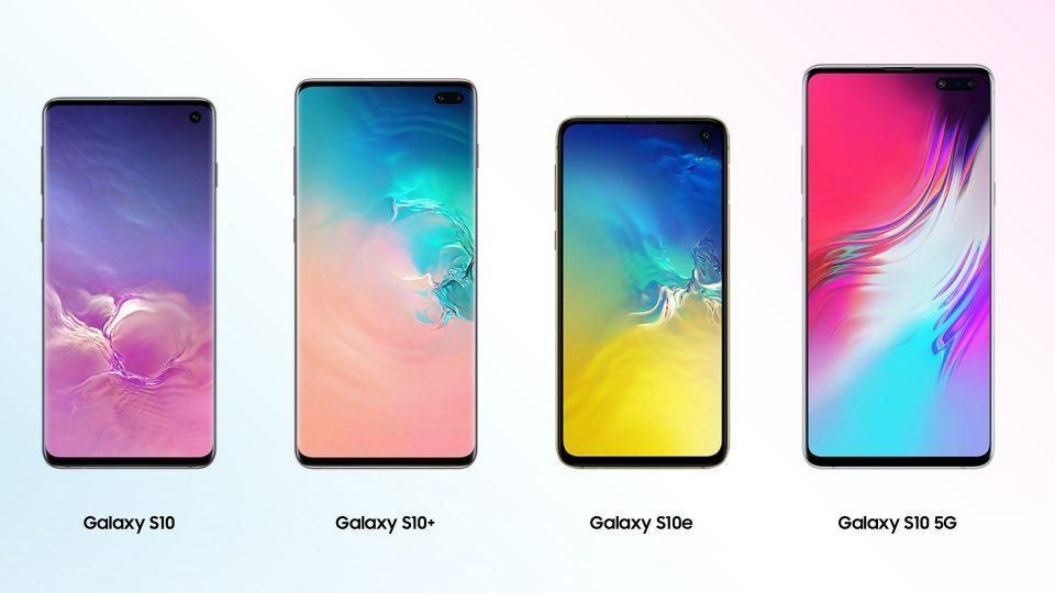 Os quatro modelos de Galaxy S10, lado a lado.
