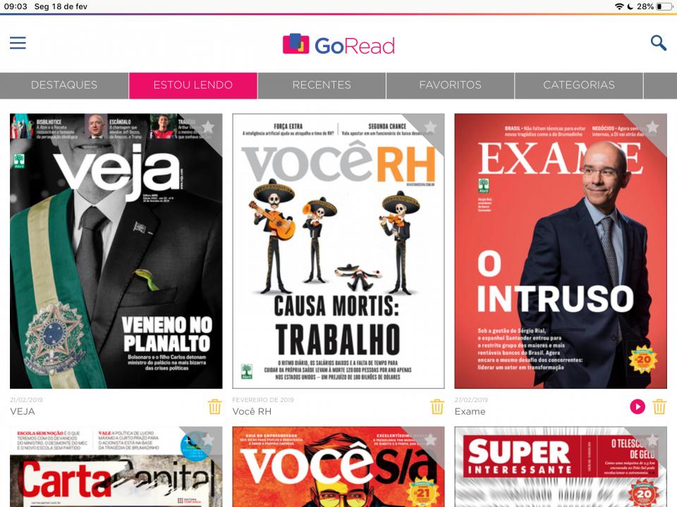 Print da tela de revistas disponíveis para ler no GoRead.