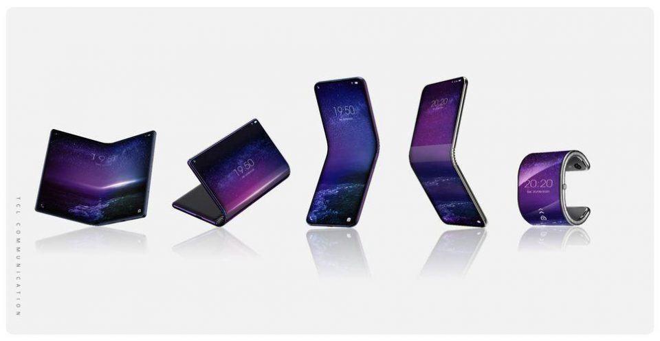 Renders dos celulares com telas dobráveis da TCL.
