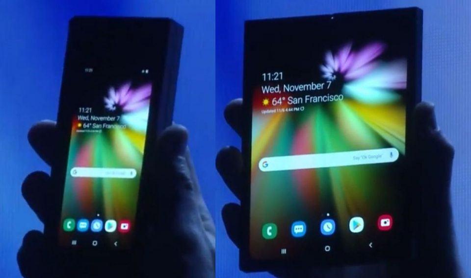 O protótipo de tela dobrável que a Samsung mostrou em novembro de 2018.