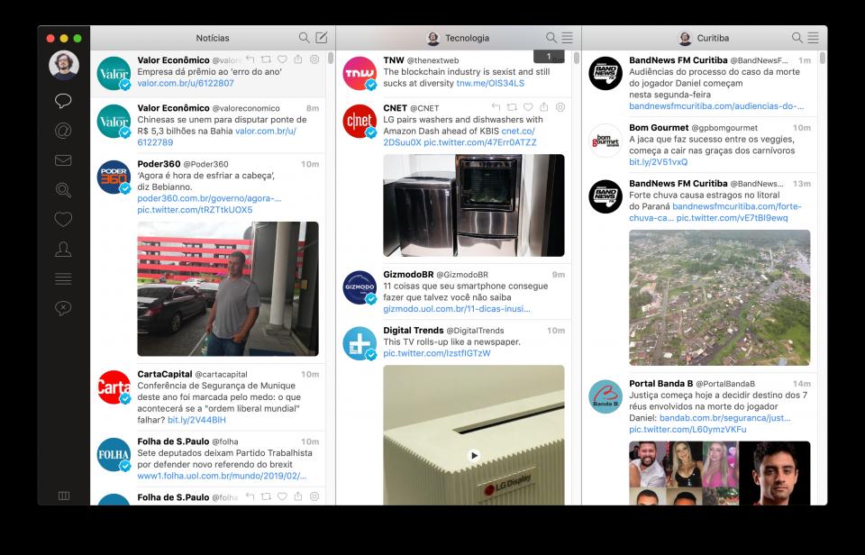 Print do Tweetbot com três listas segmentadas abertas em colunas.
