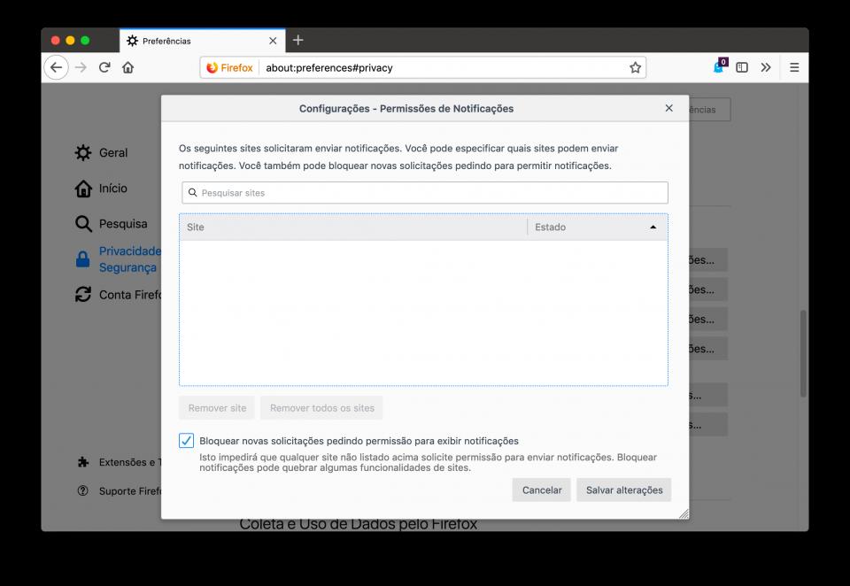 Tela de configurações do Firefox com a parte de permissões para notificações de sites.