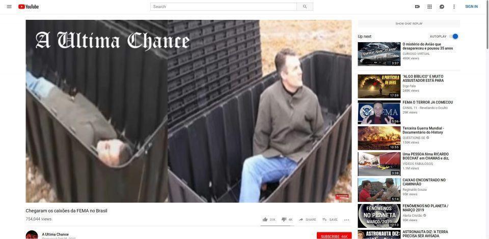 Print de um vídeo extremista recomendado pelo YouTube.