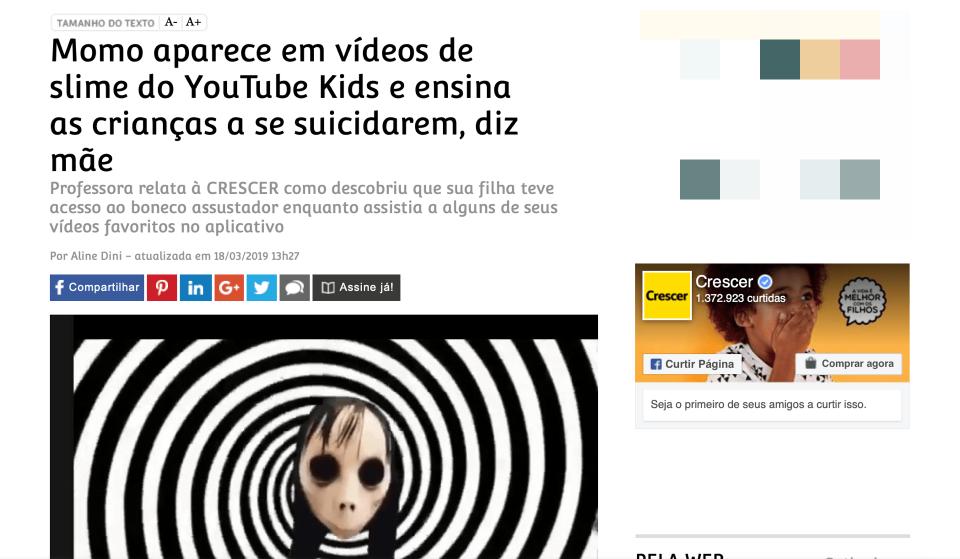 Print da manchete da reportagem da revista Crescer sobre o desafio da boneca Momo.