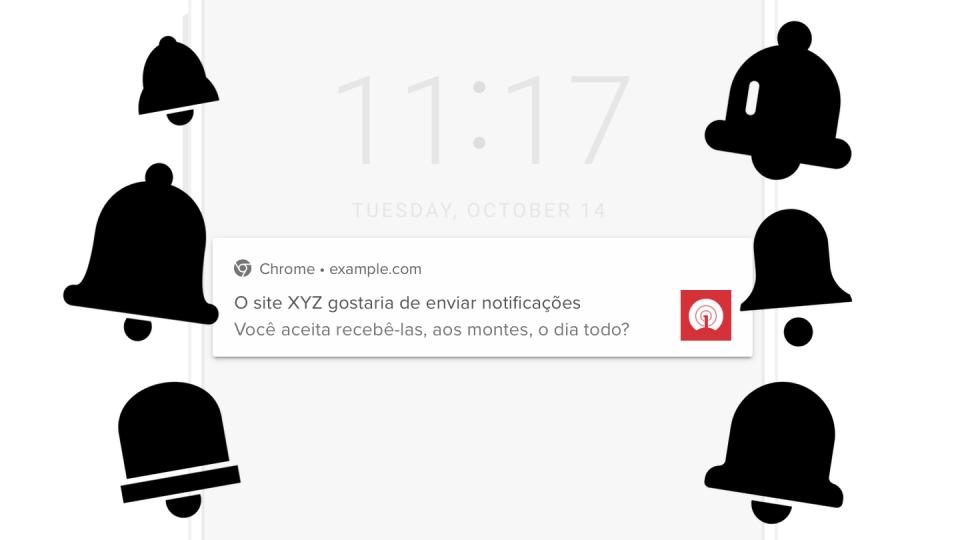 Ícones de notificações ladeando uma notificação fictícia perguntando se o usuário quer recebê-las.