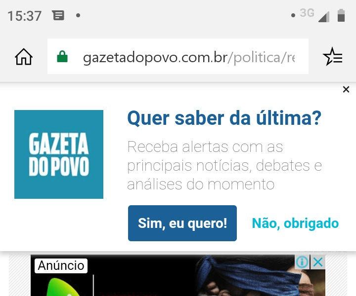 Pedido de permissão para o envio de notificações no site da Gazeta do Povo.