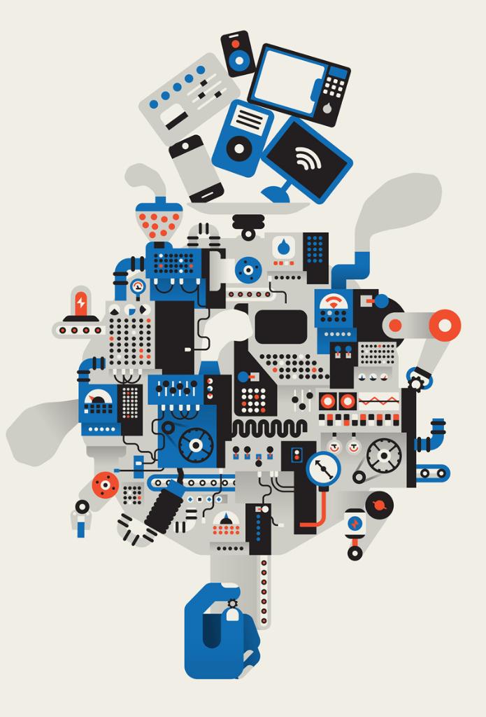 Ilustração mostrando as entranhas de uma engrenagem onde entram gadgets e sai apenas um parafuso, uma alusão à baixa eficiência da economia circular.