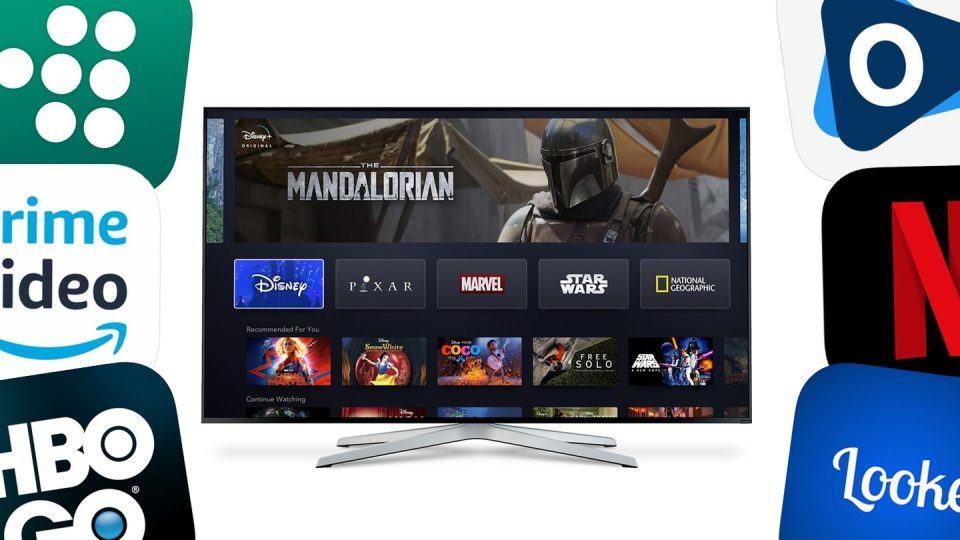 Tela com o Disney+ no centro rodeada por ícones de outros serviços de streaming.