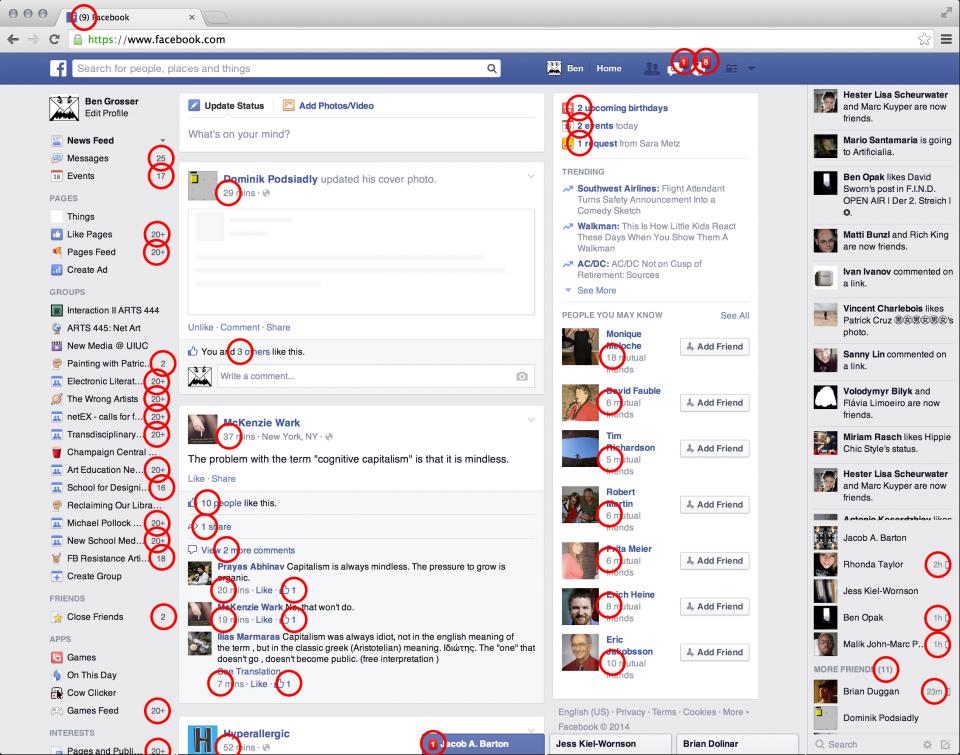 Print do Facebook com os números marcados em vermelho.