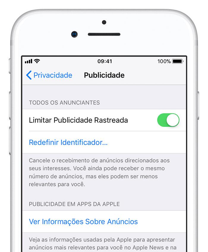 Print das configurações do iOS onde é possível anular o IDFA.