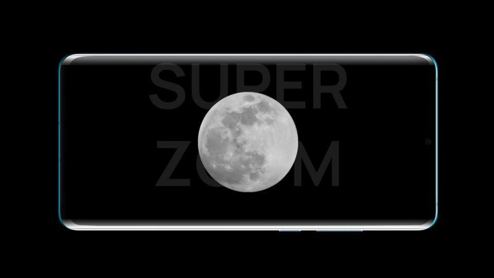 Foto da Lua aproximada 50 vezes pela câmera do P30 Pro, exibida na tela do aparelho.