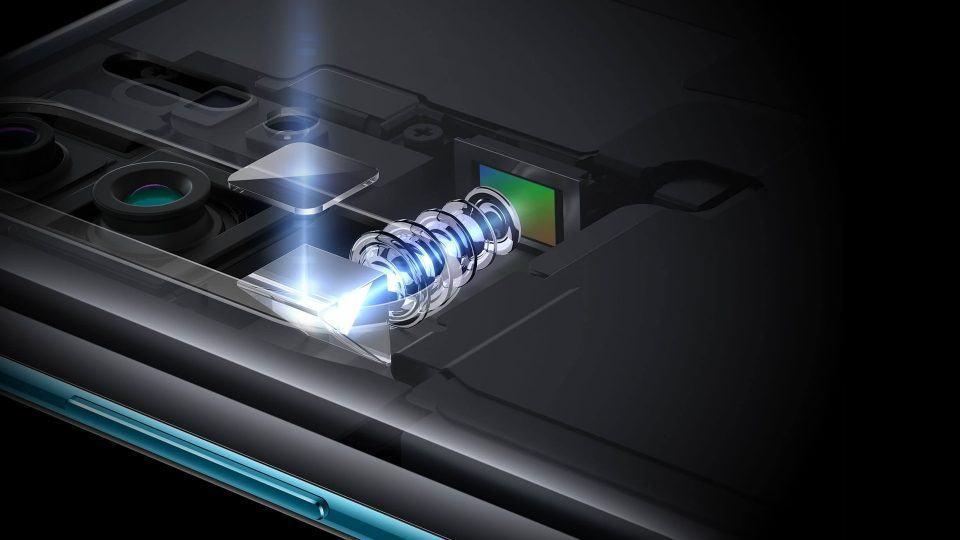Esquema mostrando como funciona o periscópio da câmera SuperZoom do P30 Pro.