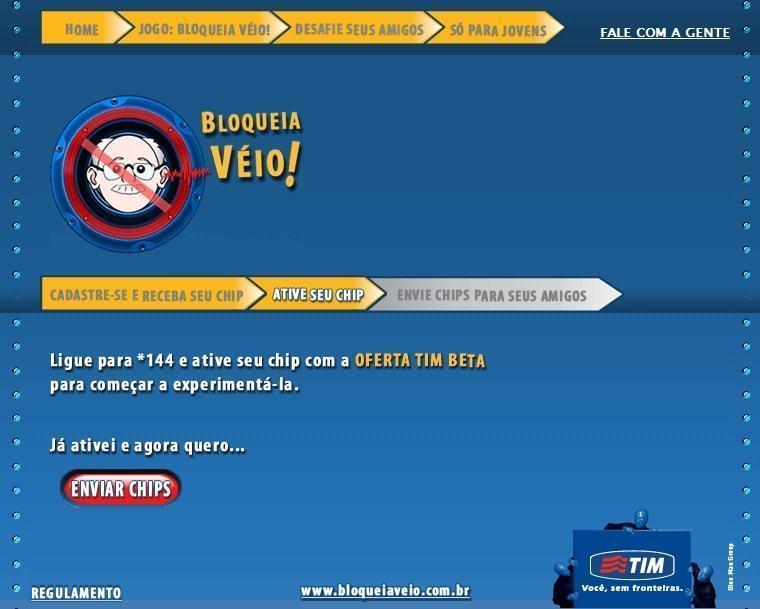 Print do jogo Bloqueia Véio, da TIM.
