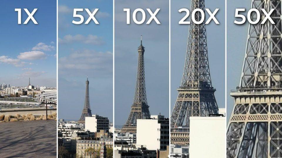 Comparativo de diferentes fotos da Torre Eiffel em diferentes zoom com a câmera do Huawei P30 Pro.