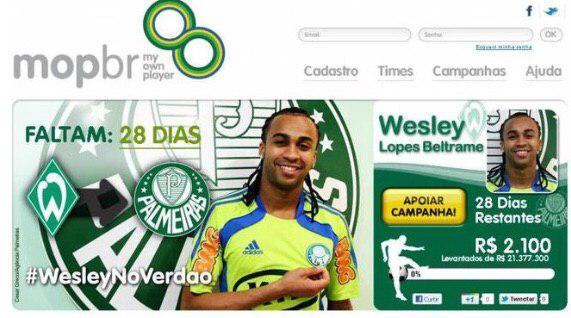 Print da página de crowdfunding do My Own Player com a campanha do Palmeiras.