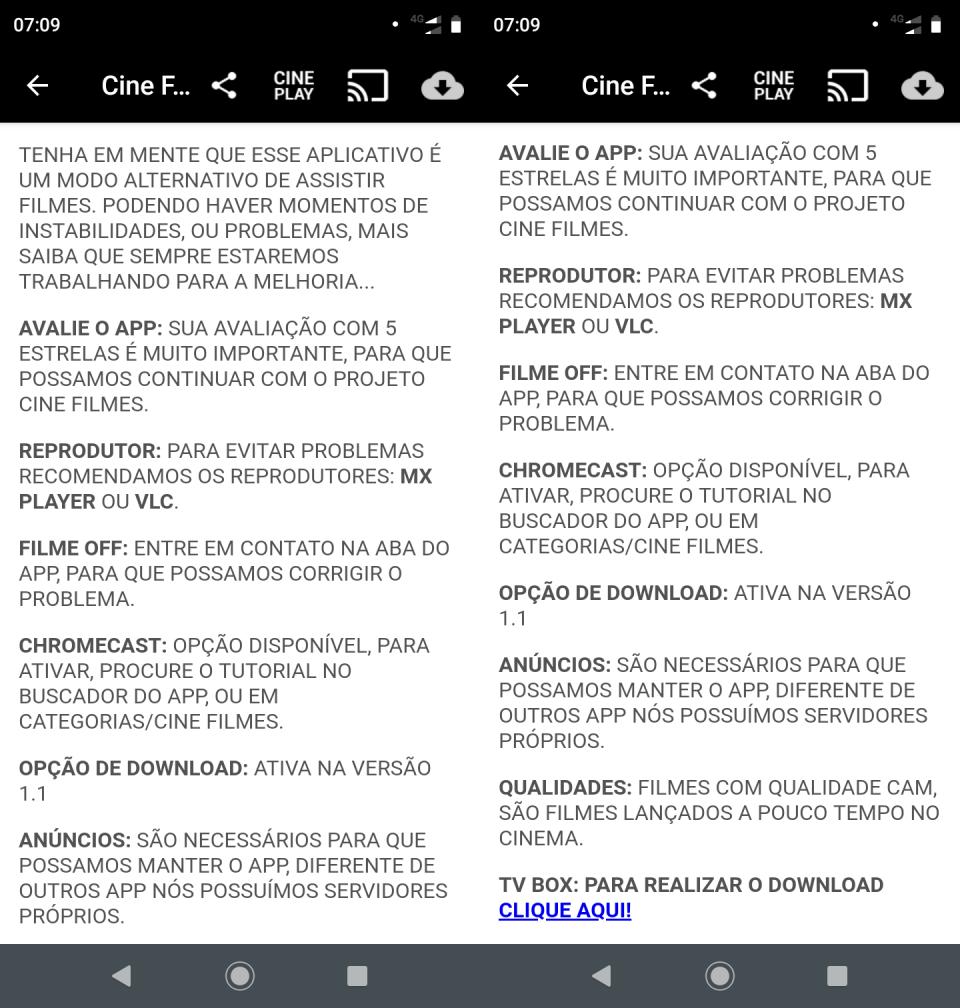 Textão de aviso aos usuários do app Cine Filmes.