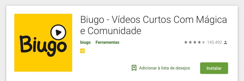 Print do título do Biugo na Play Store.