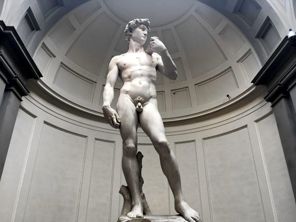 Foto da estátua de Davi de Michelangelo.