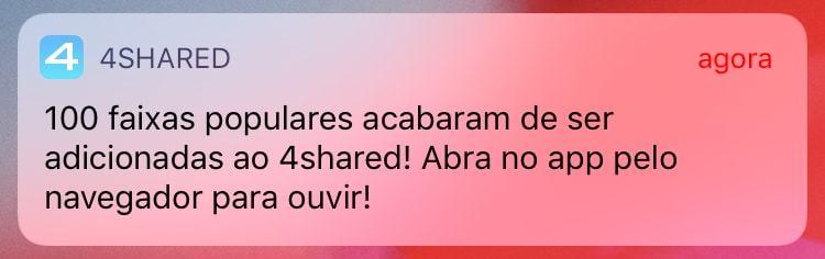 Print de uma notificação do app do 4Shared.