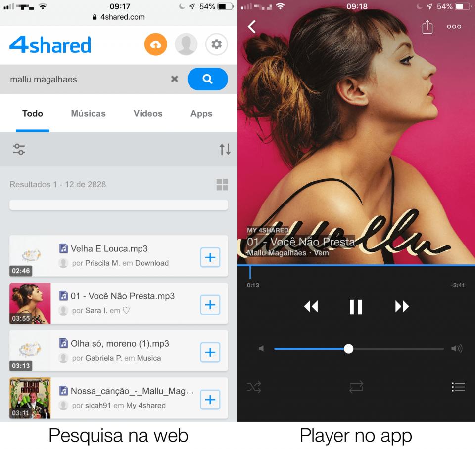 Pesquisa de uma música no site do 4Shared e ela sendo tocada no app.