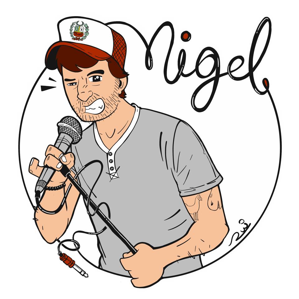 Caricatura do Nigel Goodman usada na divulgação do seu podcast.