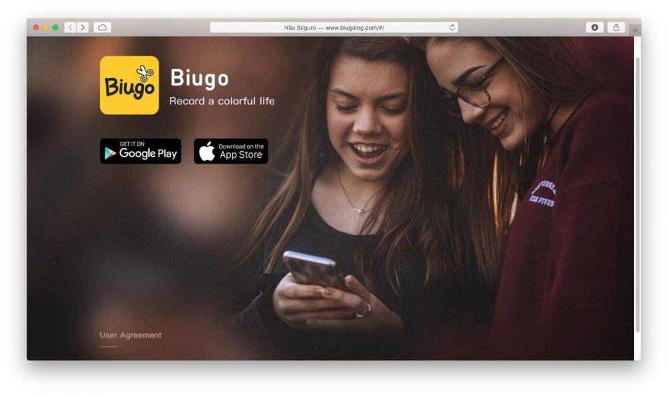 Print do site oficial do Biugo.