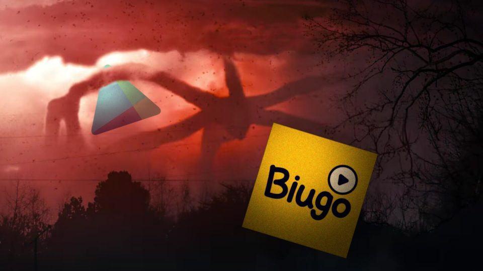 """Montagem de cena de """"Stranger Things"""" com ícones da Play Store e do app Biugo."""