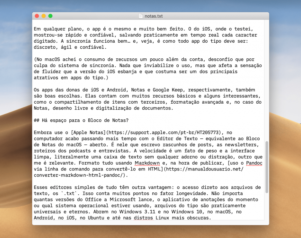 Print do Editor de Texto, equivalente ao Bloco de Notas do macOS.