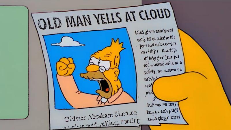 """Quadro de """"Os Simpsons"""" de uma notícia de jornal com a manchete """"Idoso grita com nuvem""""."""