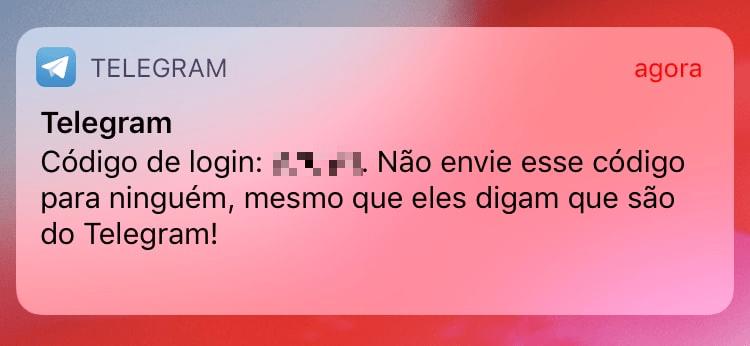 Print da notificação do Telegram que envia o código.