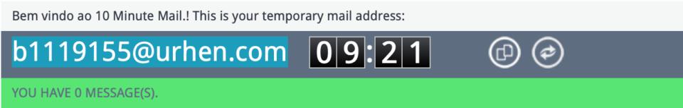 E-mail descartável gerado pelo 10 Minute Mail.