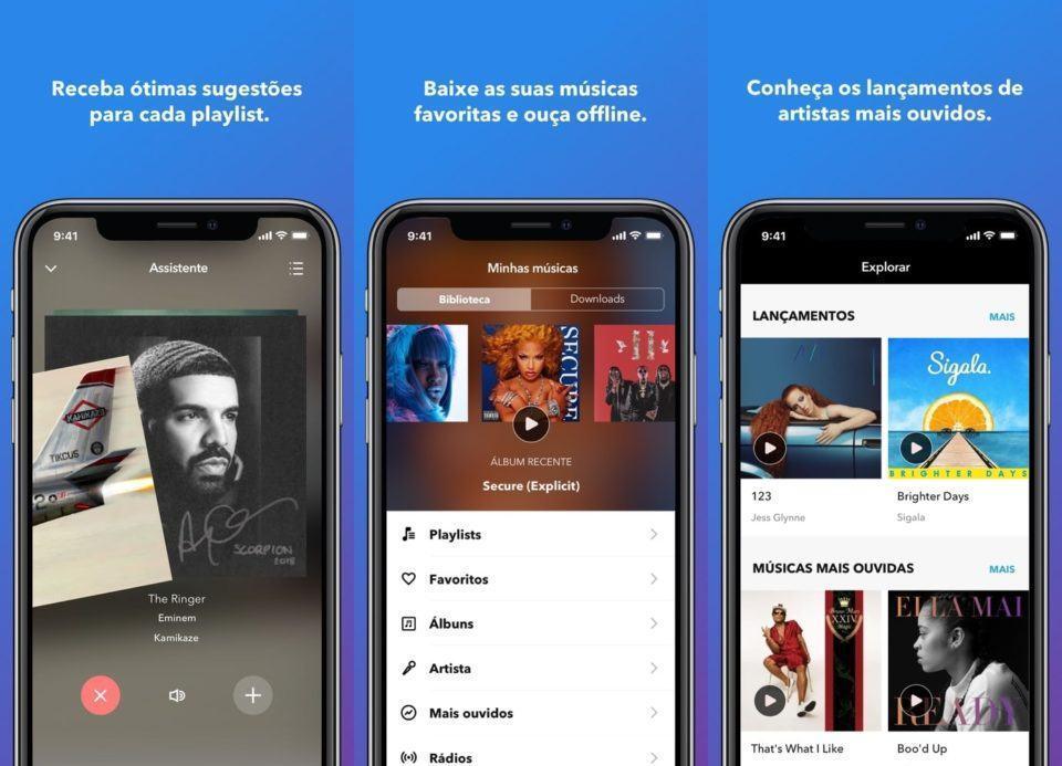 Telas do Napster para iOS.