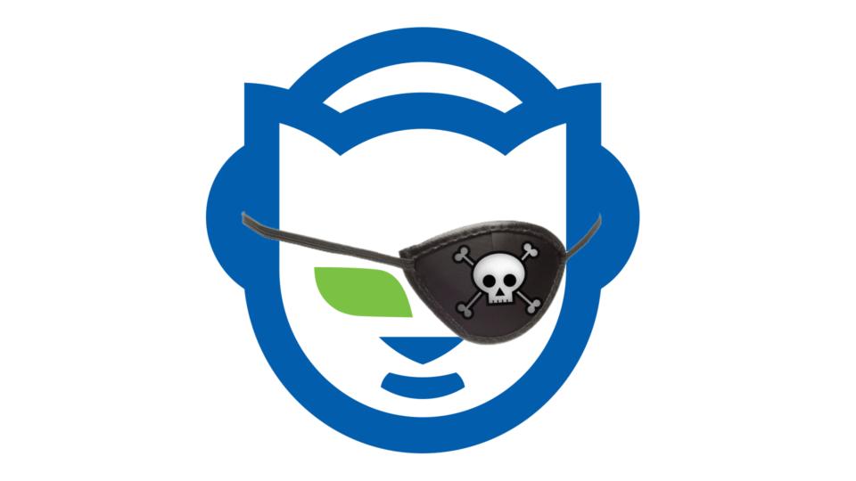 Logo do Napster (gatinho) com um tapa-olho de pirata.