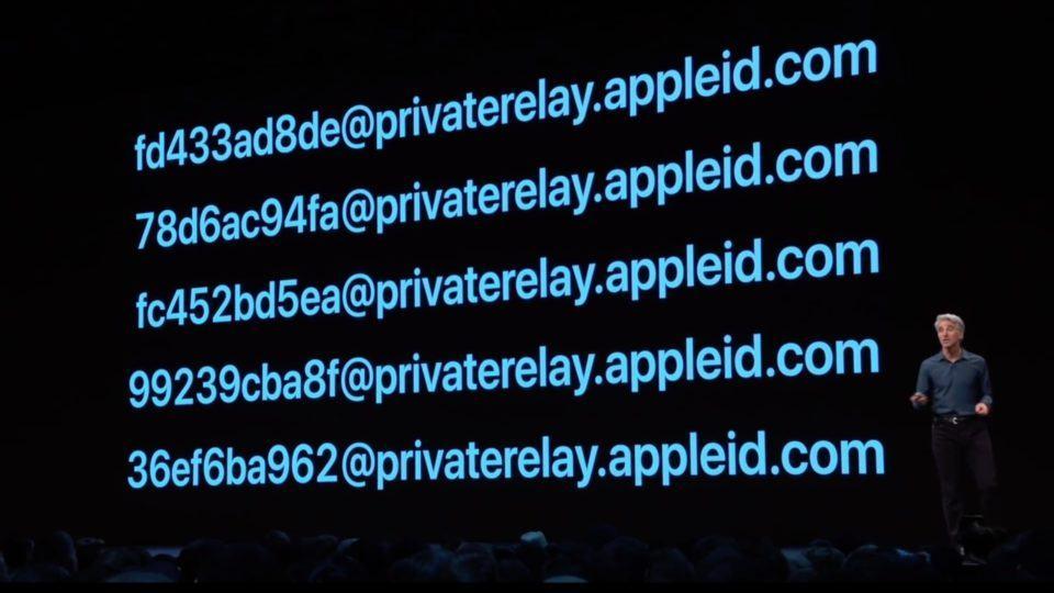 Slide da apresentação da WWDC com e-mails gerados pelo Sign in with Apple.