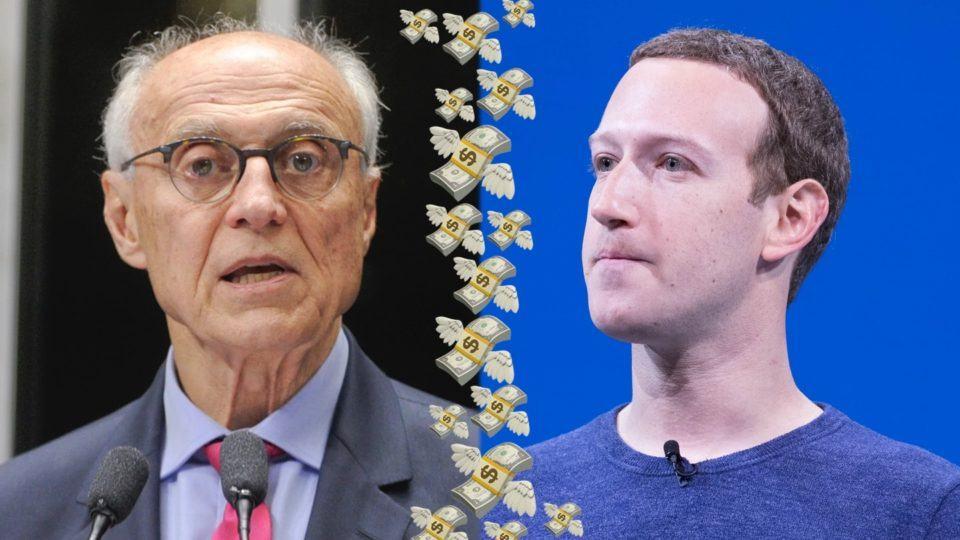 Eduardo Suplicy e Mark Zuckerberg separados por uma coluna de emosjis de cédulas de dólar com asas.