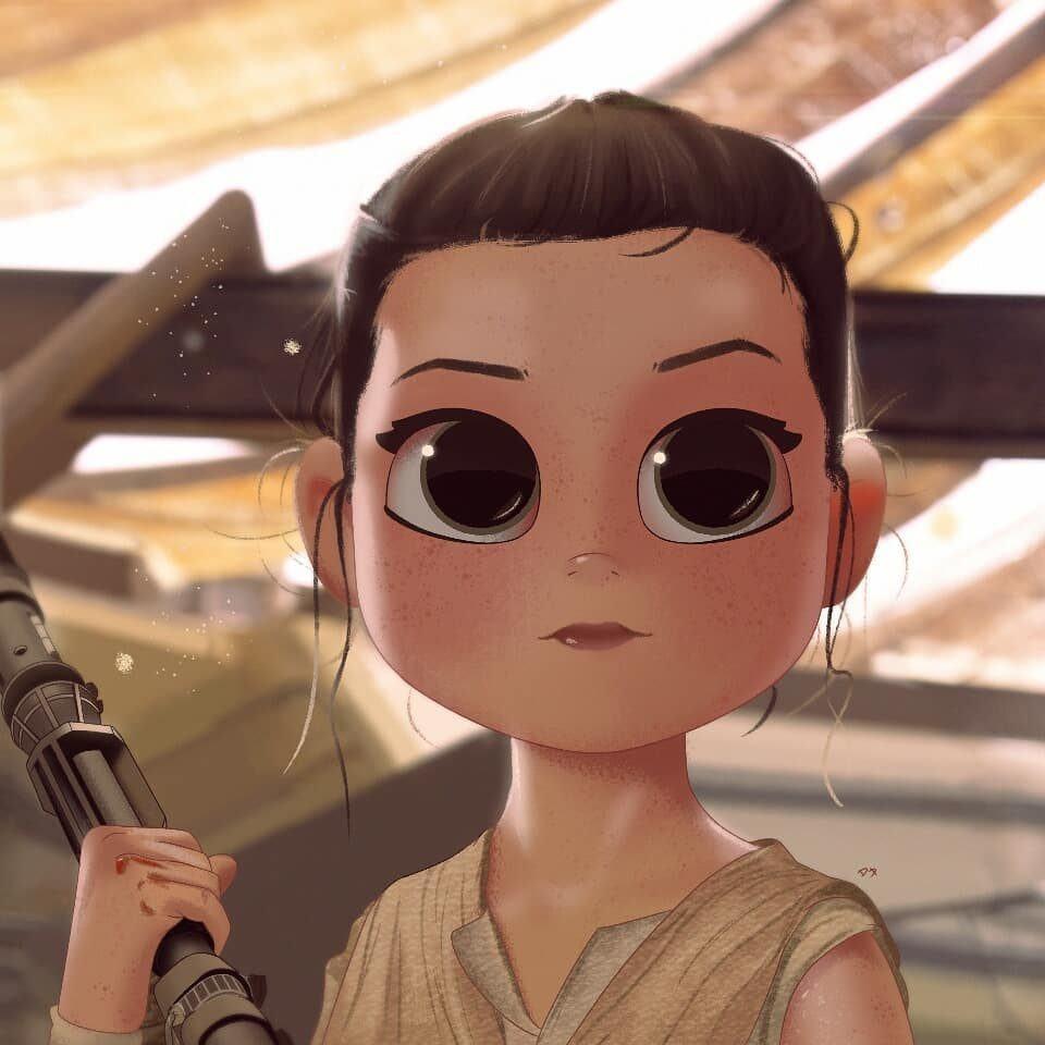 Caricatura da Rey, de Star Wars.