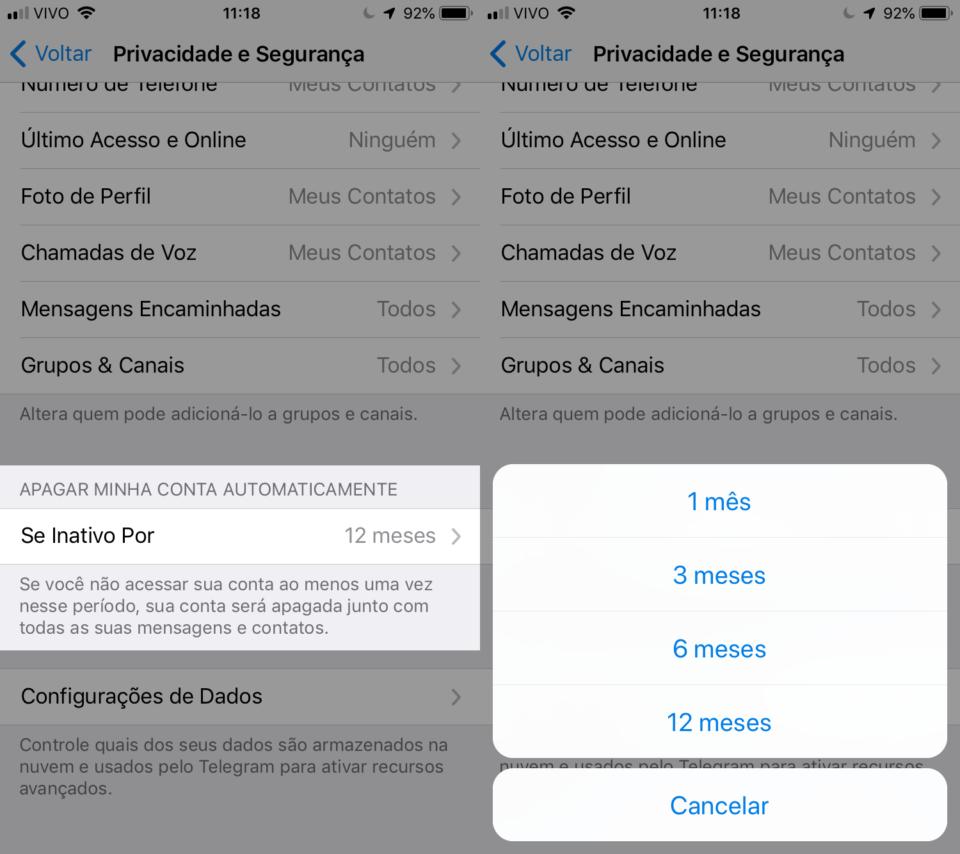 Telas do Telegram com opções para a exclusão automática da conta.