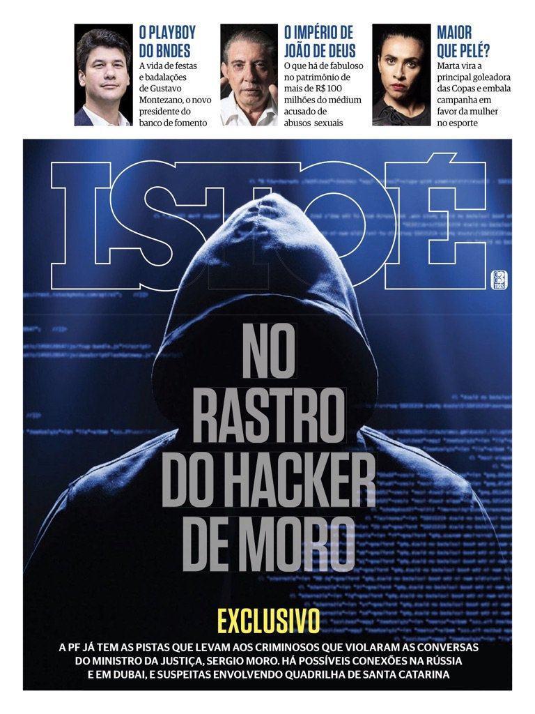 Capa da revista Isto É com o suposto hacker russo de Moro.