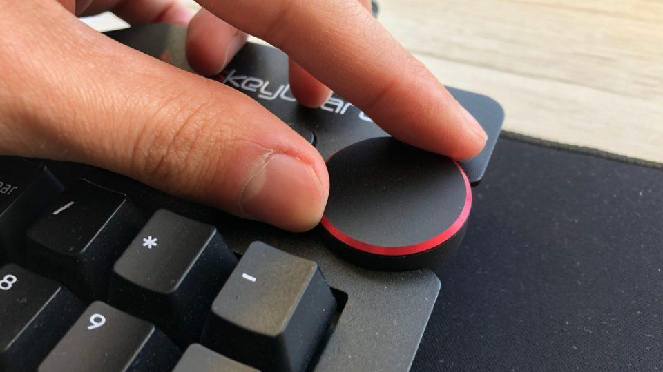 Detalhe do dial de volume do Das Keyboard.