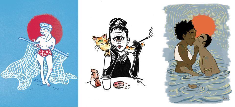 Três ilustrações feitas pela Aline.