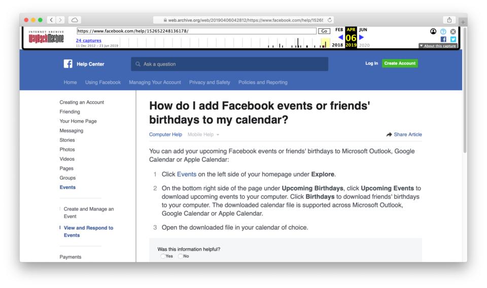 Página de ajuda do Facebook com pergunta sobre exportação de eventos e aniversários.
