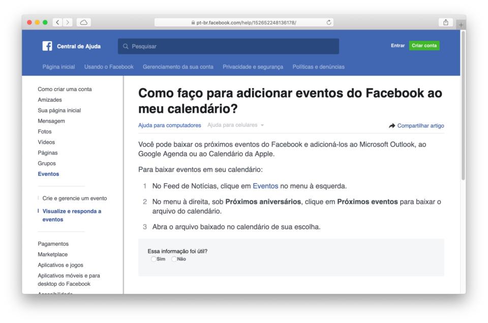 Página de ajuda do Facebook com pergunta sobre exportação de eventos.