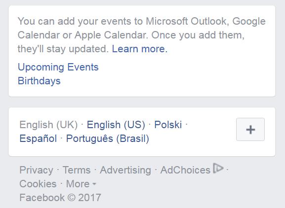 Print do bloco de exportação de eventos e aniversários do Facebook, em agosto de 2017.
